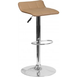 Quilted Design Cappuccino Vinyl Adjustable Height Bar Stool