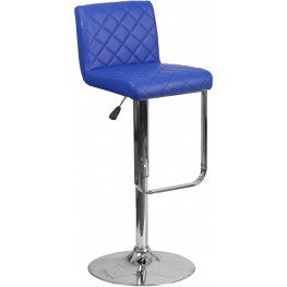 Mid Back Blue Vinyl Adjustable Height Bar Stool (Min Order Qty Required)