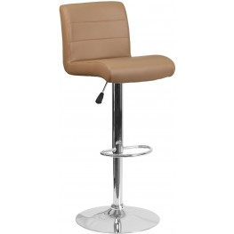 Low Back Cappuccino Vinyl Upholstery Adjustable Height Bar Stool