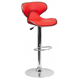 Cozy Red Adjustable Height Bar Stool