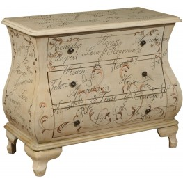 White Hand Painted Words Bombay Chest