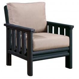 Stratford Black Chair With Beige Sunbrella Cushions