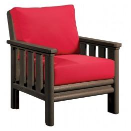 Stratford Chocolate Chair With Jockey Red Sunbrella Cushions