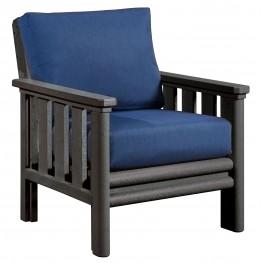 Stratford Slate Gray Chair With Indigo Blue Sunbrella Cushions