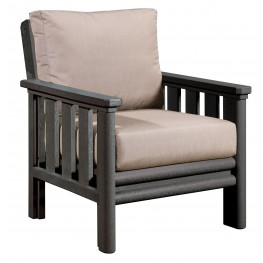 Stratford Slate Gray Chair With Beige Sunbrella Cushions