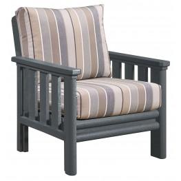 Stratford Slate Gray Chair With Milano Charcoal Sunbrella Cushions