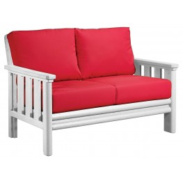 Stratford White Loveseat With Jockey Red Sunbrella Cushions