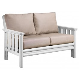 Stratford White Loveseat With Beige Sunbrella Cushions
