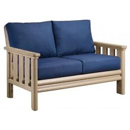 Stratford Beige Loveseat With Indigo Blue Sunbrella Cushions