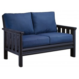 Stratford Black Loveseat With Indigo Blue Sunbrella Cushions Sunbrella Cushions