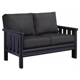 Stratford Black Loveseat With Black Sunbrella Cushions