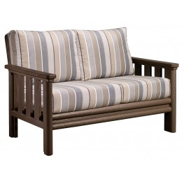 Stratford Chocolate Loveseat With Milano Charcoal Sunbrella Cushions