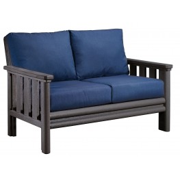 Stratford Slate Gray Loveseat With Indigo Blue Sunbrella Cushions