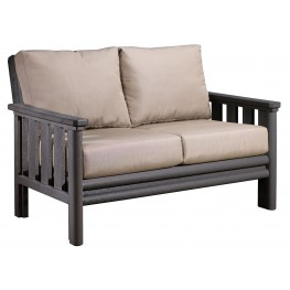 Stratford Slate Gray Loveseat With Beige Sunbrella Cushions