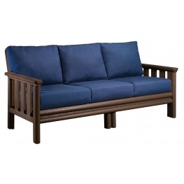 Stratford Chocolate Sofa With Indigo Blue Sunbrella Cushions