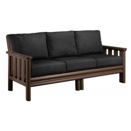Stratford Chocolate Sofa With Black Sunbrella Cushions