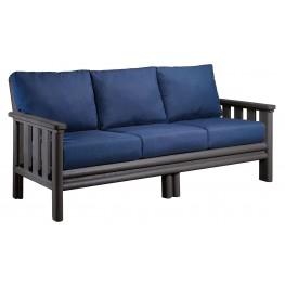 Stratford Slate Gray Sofa With Indigo Blue Sunbrella Cushions