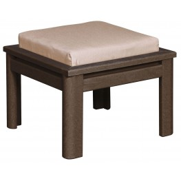 Stratford Chocolate Small Ottoman With Jockey Red Cushions