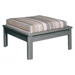 Stratford Slate Gray Large Ottoman With Milano Charcoal Cushions