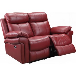 Shae Joplin Red Leather Power Reclining Loveseat
