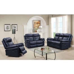 Shae Joplin Blue Leather Power Reclining Living Room Set