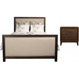 Eden Rustic Java Upholstered Panel Bedroom Set