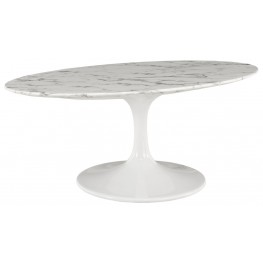 """Lippa White 42"""" Oval-Shaped Artificial Marble Coffee Table"""