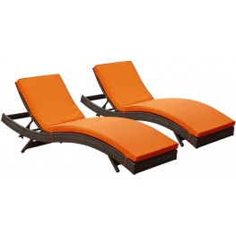 Peer Brown Orange Outdoor Patio Chaise Set of 2