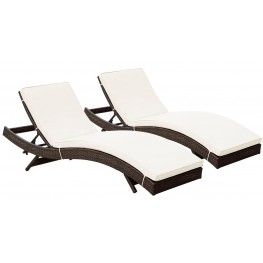 Peer Brown White Outdoor Chaise Patio Set of 2