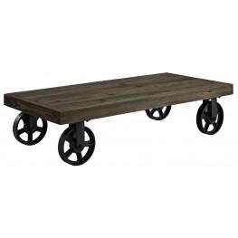 Garrison Brown Wood Top Coffee Table