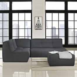 Align Charcoal 4 Piece Upholstered Sectional Sofa