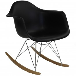 Plastic Molded Rocking Chair in Black