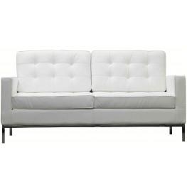 Loft Loveseat in White Genuine Leather