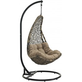 Abate Black Mocha Outdoor Patio Swing Chair With Stand