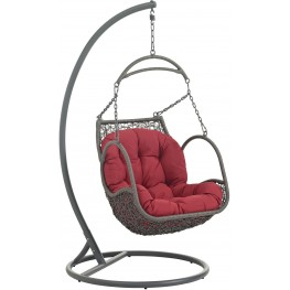 Arbor Red Outdoor Patio Wood Swing Chair