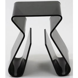 Acrylic Stool with Magazine Holder in Black
