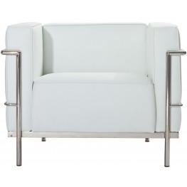 Le Corbusier LC3 Armchair in Genuine White Leather