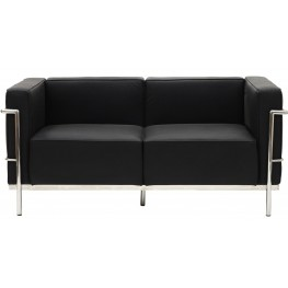 Le Corbusier LC3 Loveseat in Genuine Black Leather