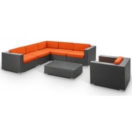 Corona Outdoor Rattan 7 Piece Set in Espresso with Orange Cushions