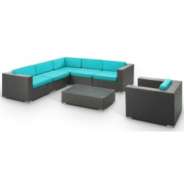 Corona Outdoor Rattan 7 Piece Set in Espresso with Turquoise Cushions