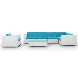 Corona Outdoor Rattan 7 Piece Set in White with Turquoise Cushions