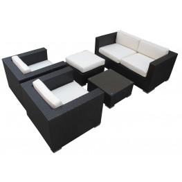 Malibu Outdoor Rattan 5 Piece Set In Espresso with White Cushions