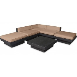 Laguna Outdoor Rattan 6 Piece Set In Espresso with Mocha Cushions