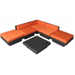 Laguna Outdoor Rattan 6 Piece Set In Espresso with Orange Cushions