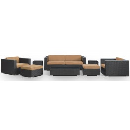 Venice Outdoor Rattan 8 Piece Set In Espresso with Mocha Cushions