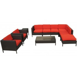 La Jolla Outdoor Rattan 9 Piece Set in Espresso with Red Cushions