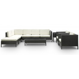 La Jolla Outdoor Rattan 9 Piece Set in Espresso with White Cushions