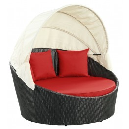 Siesta Espresso Red Canopy Outdoor Patio Daybed