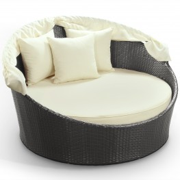Siesta Outdoor Rattan Canopy Bed in Espresso with White Cushions