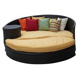 Taiji Outdoor Rattan Daybed W/Ottoman in Brown W/Orange Cushions